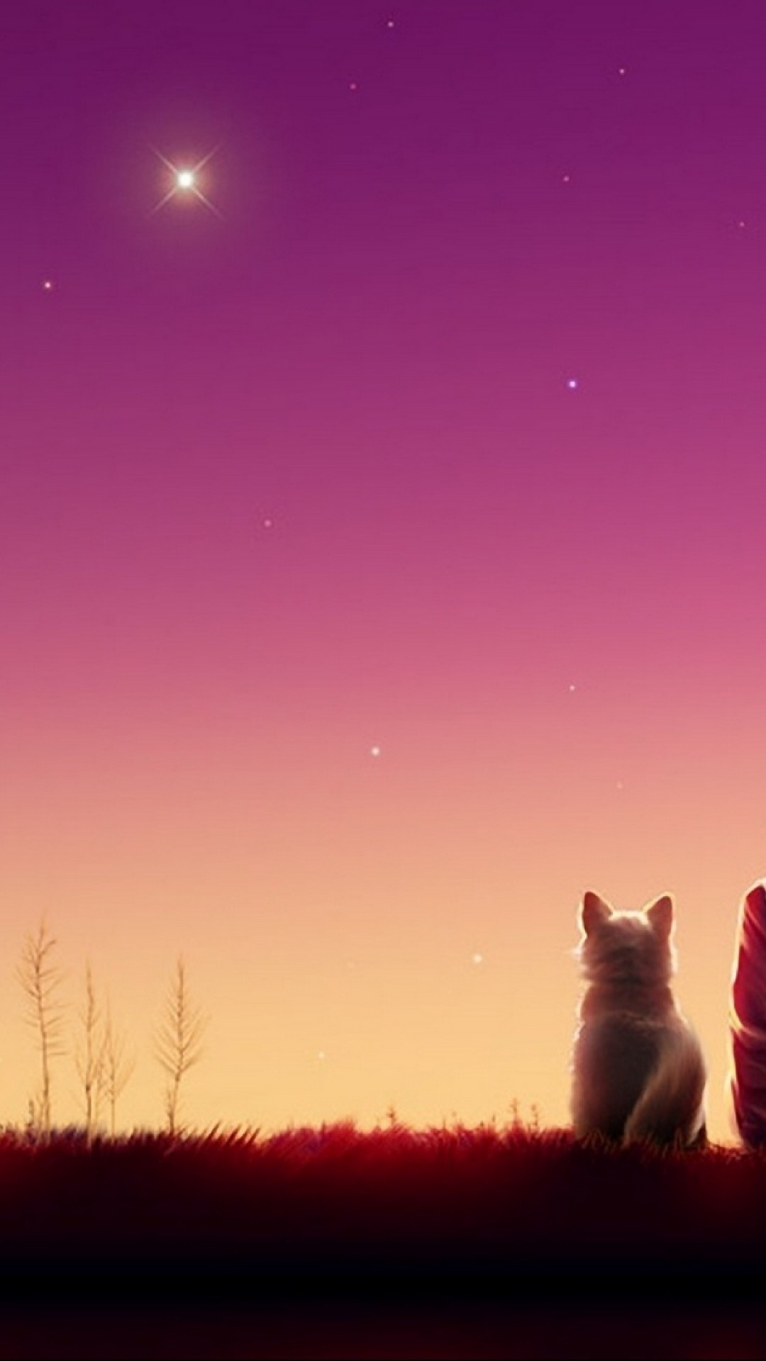 Anime Girl Watches The Sunset With Her Cat Hd Wallpaper Iphone 6