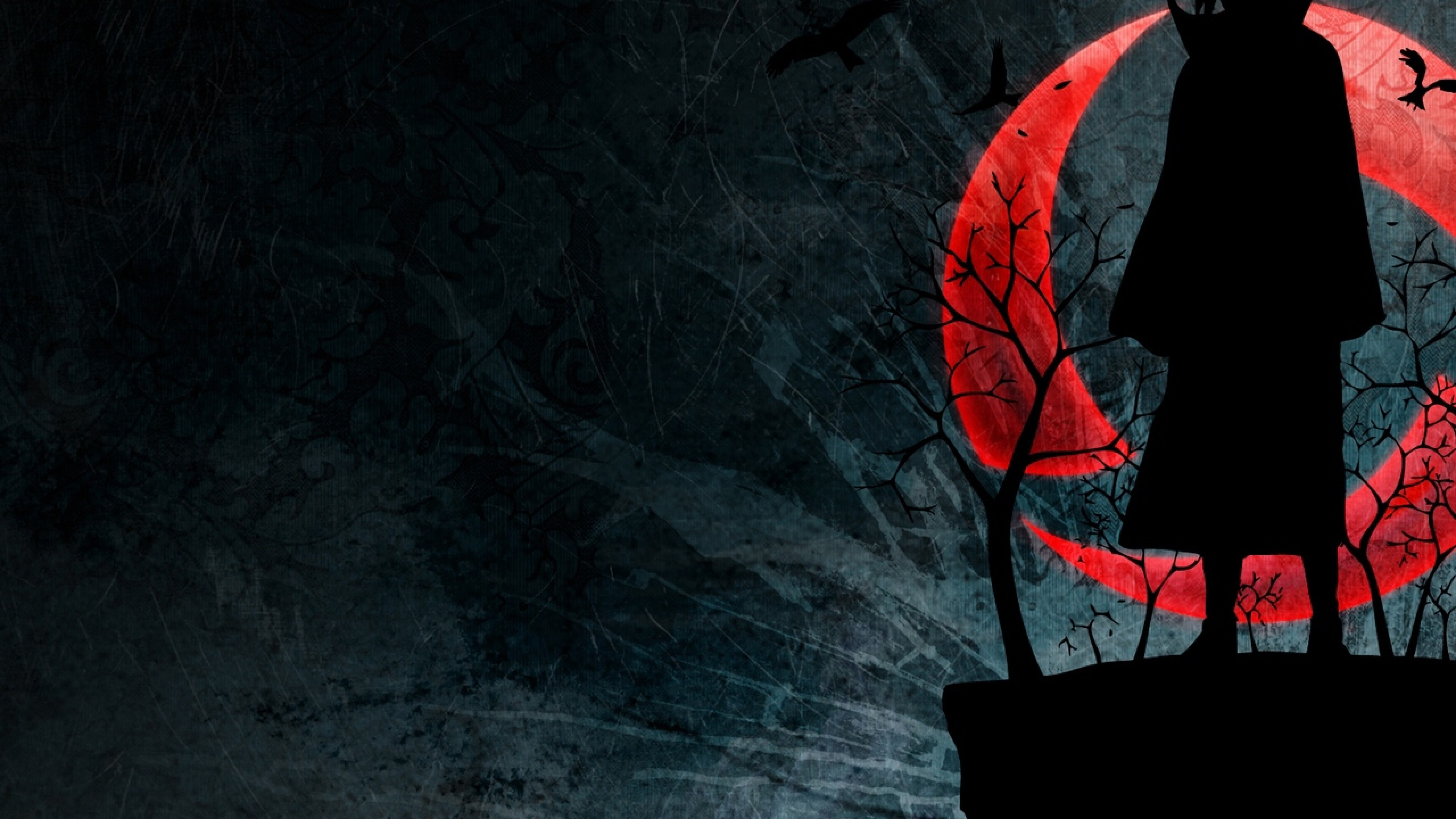 Black Figure At Red Moon Night Hd Wallpaper 4k Ultra Hd Hd Wallpaper Wallpapers Net