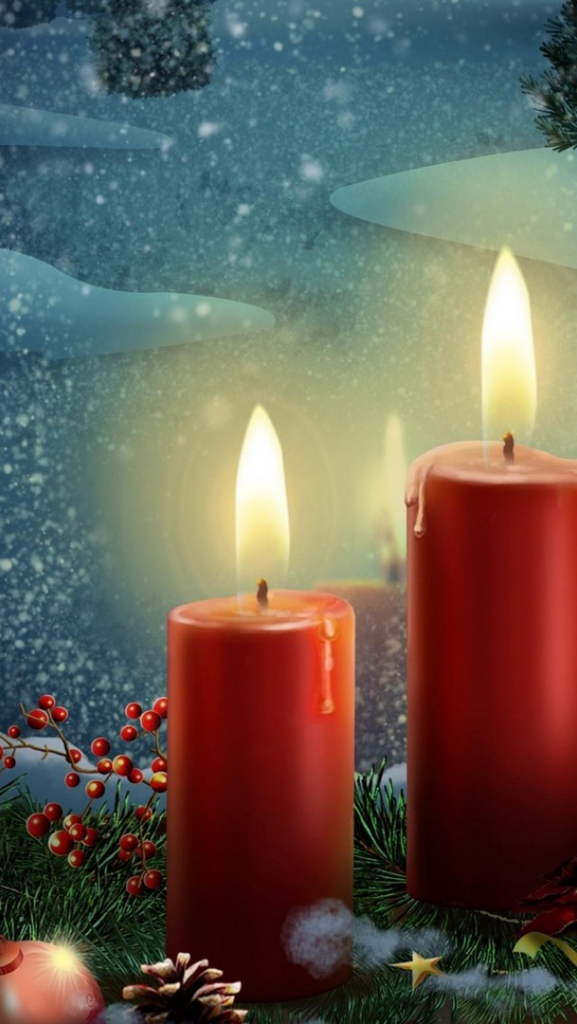 Christmas Candles Hd Wallpaper Iphone 5 5s Ipod Hd