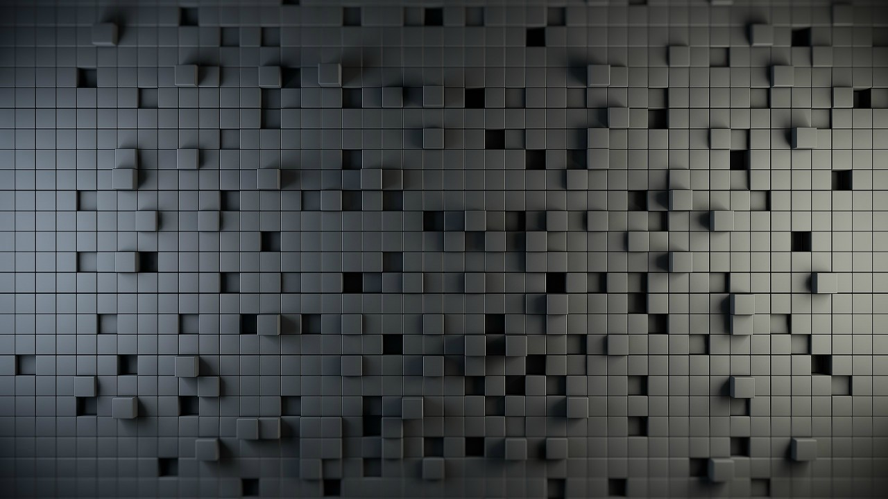 Download 3D & Geometric Black Cube Wallpaper 720p