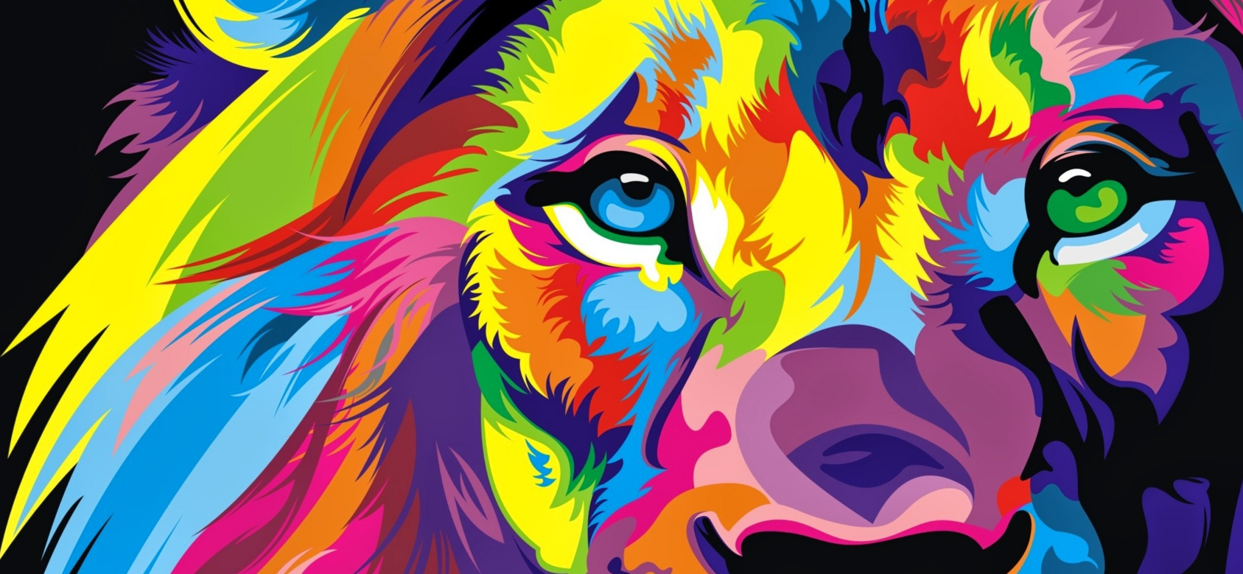 Download Full Hd Colourful Lion Artwork Wallpaper Iphone X