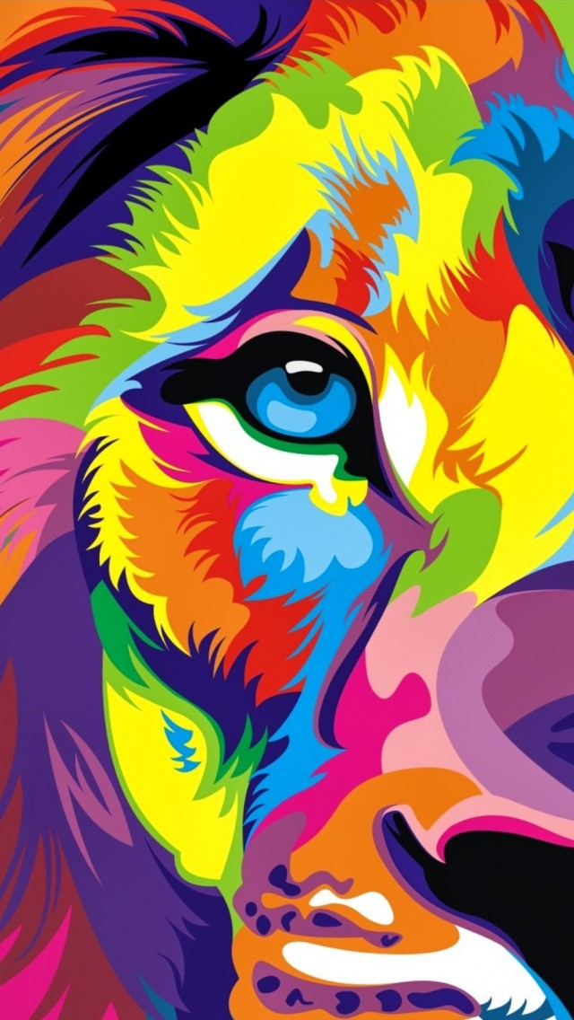 Download Full Hd Colourful Lion Artwork Wallpaper Iphone 5
