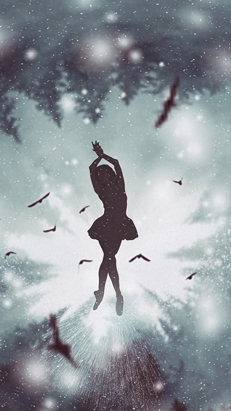 Girl Dancing At The Snowfall Hd Wallpaper Iphone 6 6s Hd Wallpaper Wallpapers Net