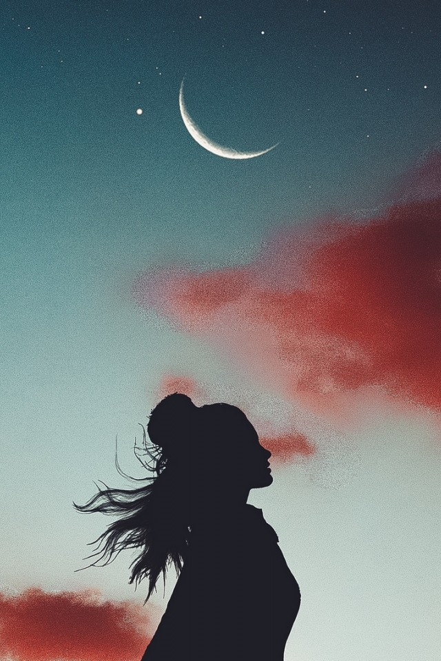 Girl S Silhouette Under The Moon Hd Wallpaper Iphone 4 4s