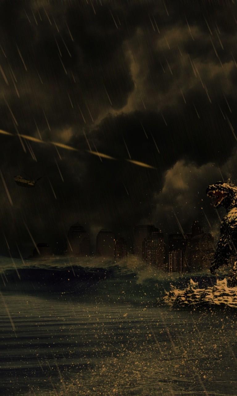 Godzilla Rises And Unleashes His Atomic Breath Hd Wallpaper 768x1280 Hd Wallpaper Wallpapers Net