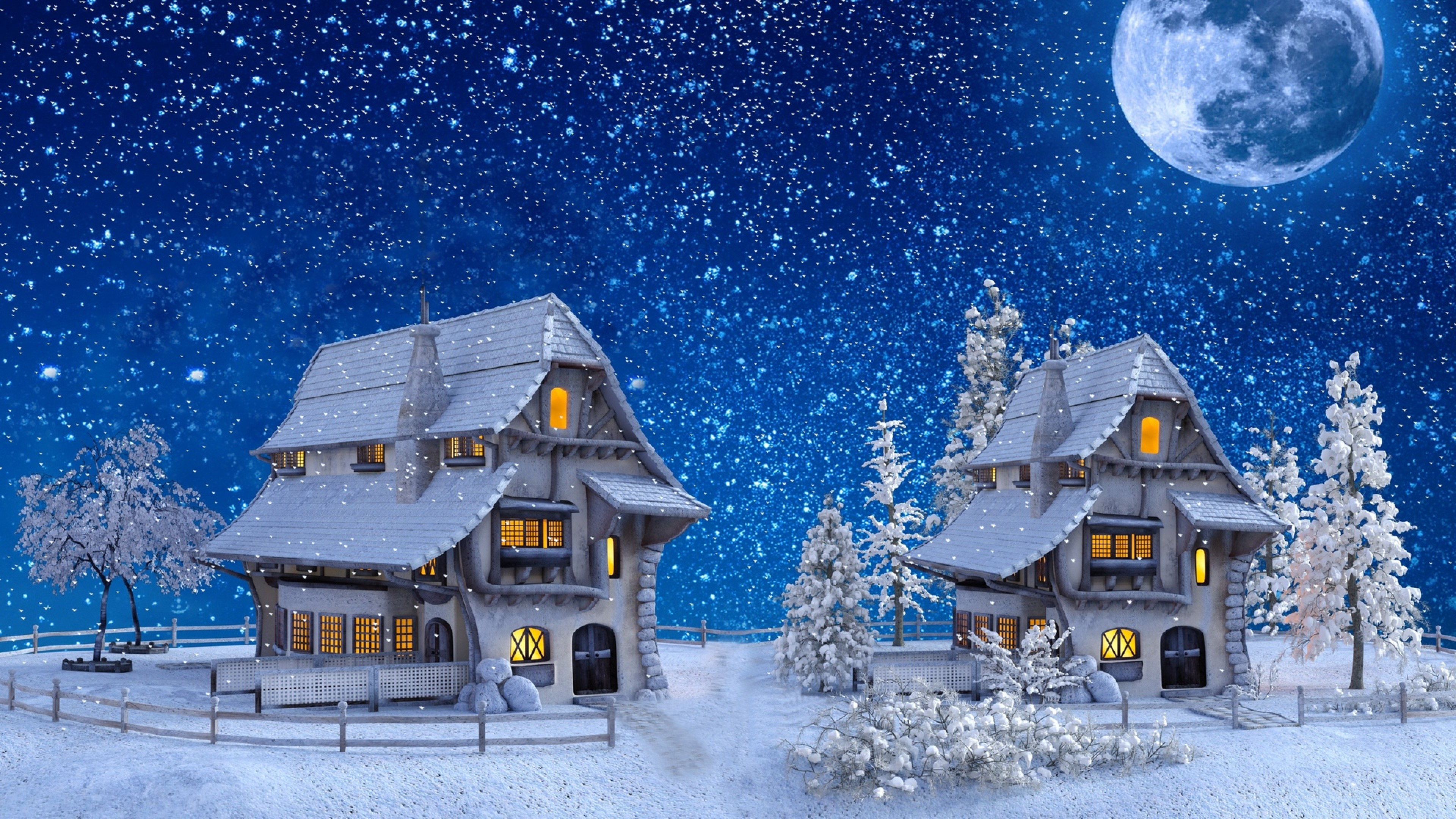 Houses Covered In Snow Painting Hd Wallpaper 4k Ultra Hd Hd Wallpaper Wallpapers Net