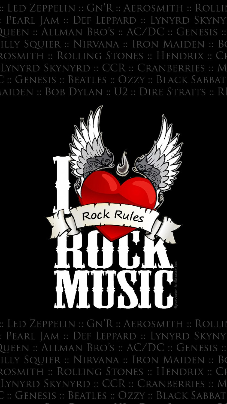 I Love Rock Music Full Hd Wallpaper For Desktop And Mobiles Iphone