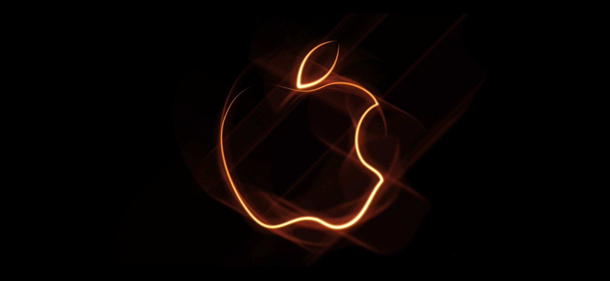 Orange Outline Apple Logo Wallpaper For Desktop And Mobiles