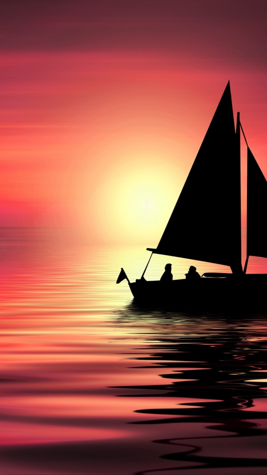 Silhouette Of Small Yacht Sailing On Sea Hd Wallpaper Iphone 6 6s Plus Hd Wallpaper Wallpapers Net