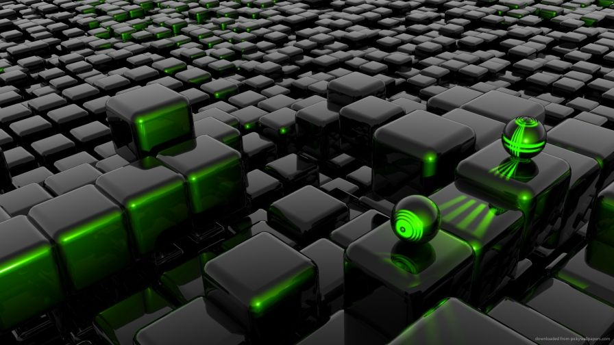 3D Green Cube Wallpaper for Desktop and Mobiles