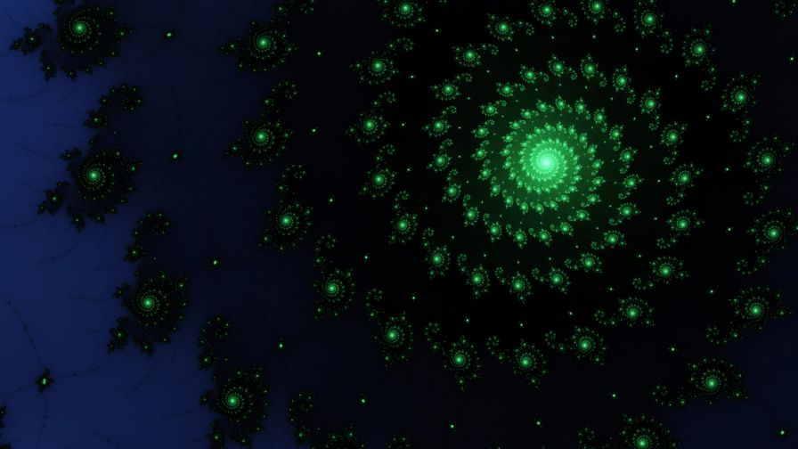 3D Green Spiral Galaxy Wallpaper for Desktop and Mobile