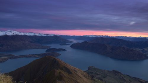 Aerial view of New Zealand mountains HD Wallpaper