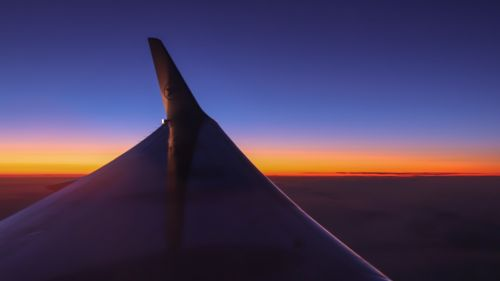 Airplane wing image during sunset HD Wallpaper