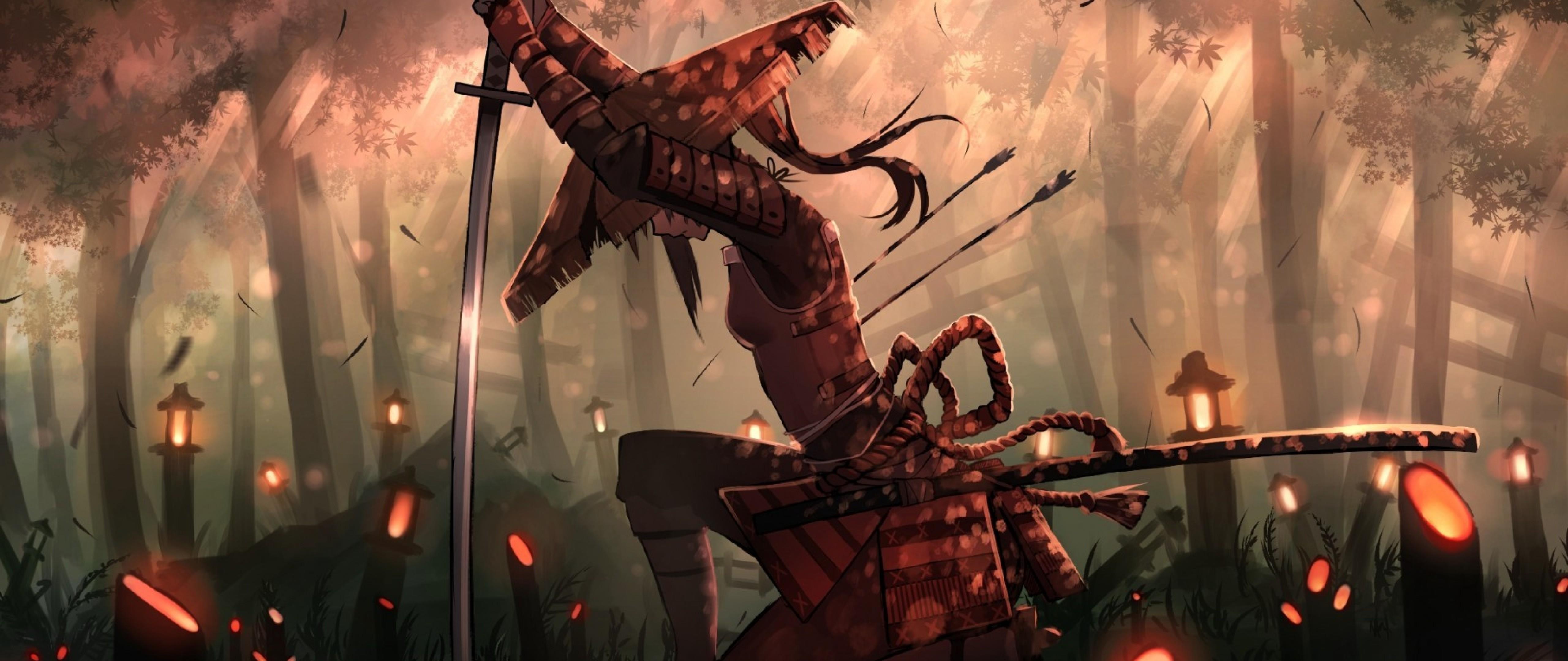 Anime samurai girl HD Wallpaper 4K Ultra HD Wide TV - HD ...