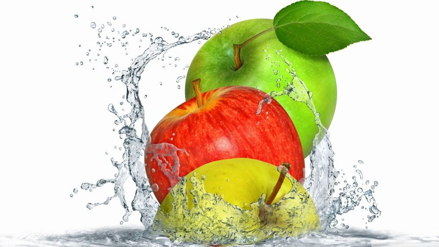 Apples Splashing Water Free Hd Wallpaper for Desktop and Mobiles