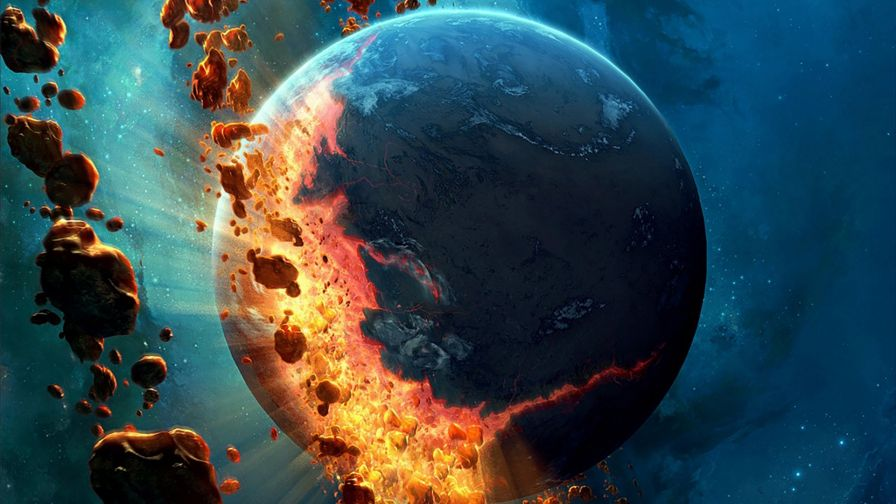 Asteroids falling on earth HD Wallpaper