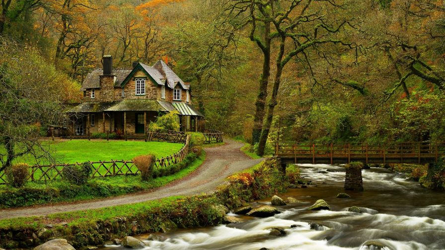 Beautiful house next to the river HD Wallpaper
