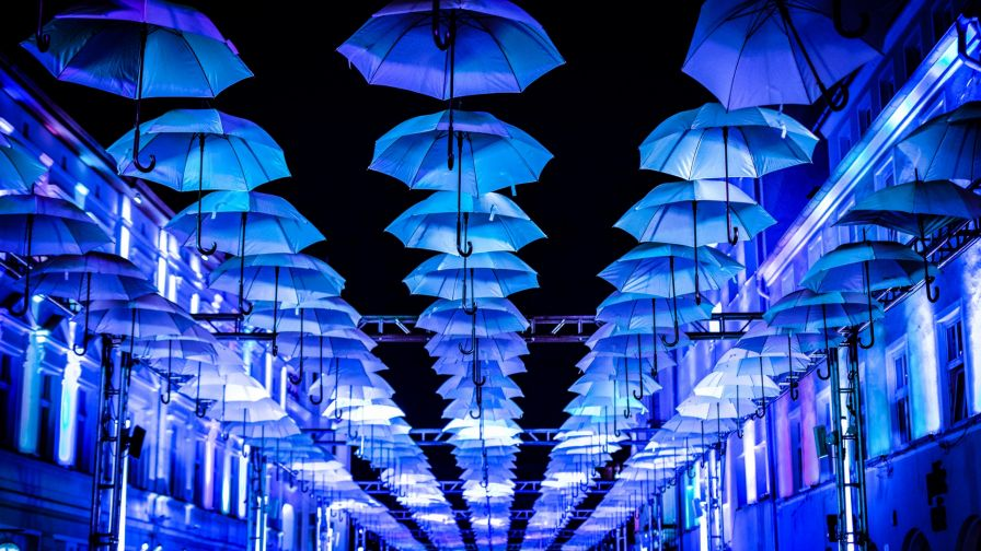 Blue umbrellas HD Wallpaper