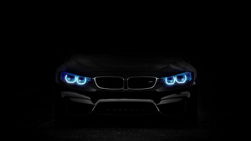 BMW headlights at the dark HD Wallpaper
