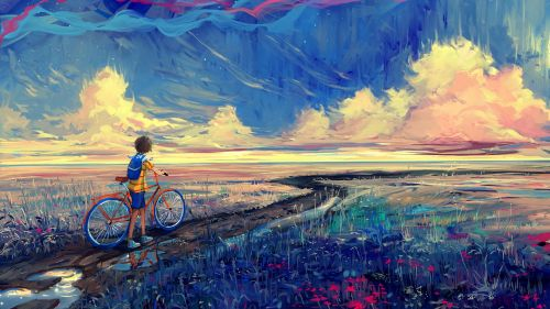 Boy and his Bike HD Wallpaper