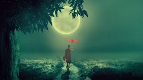 Boy with an umbrella at the fog HD Wallpaper