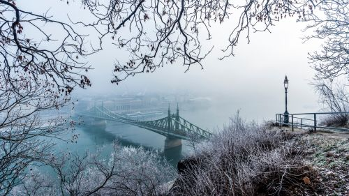 Budapest bridge covered in snow HD Wallpaper