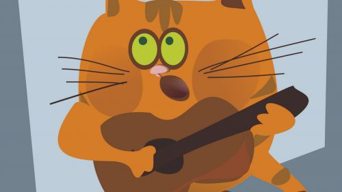 Cat playing guitar HD Wallpaper