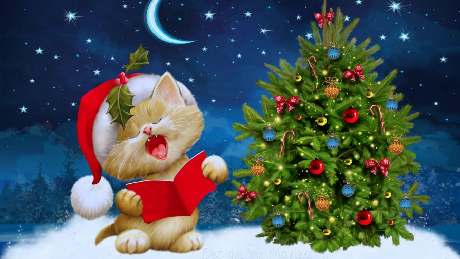 Cat Singing Jingle Bells Next To Christmas Tree Hd Wallpaper