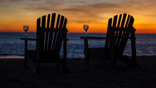 Chairs next to the beach HD Wallpaper