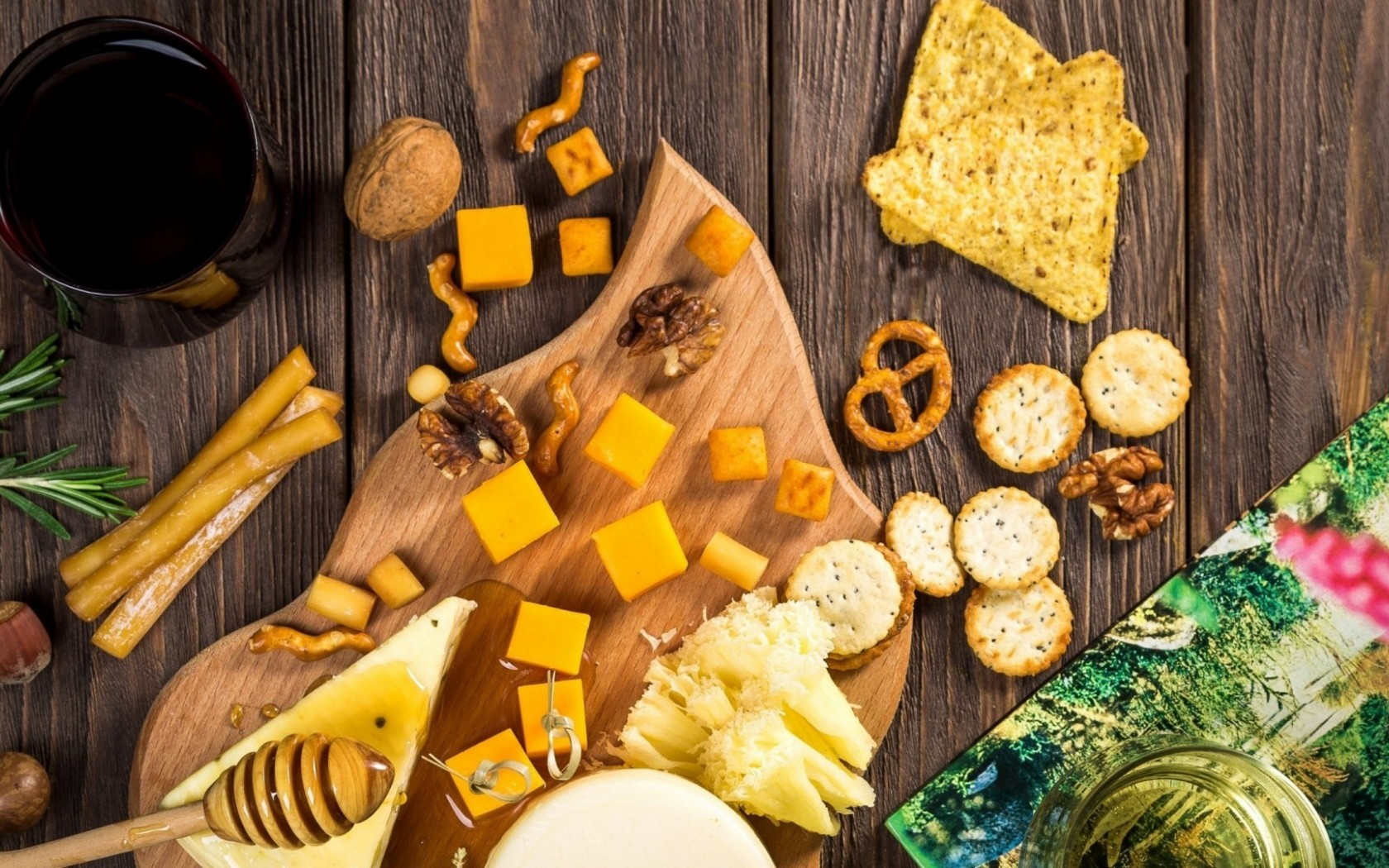 Cheese, honey and nuts top view HD Wallpaper