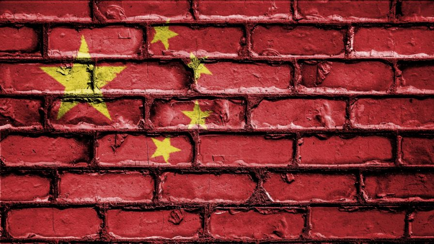 Chinese flag on a brick wall HD Wallpaper