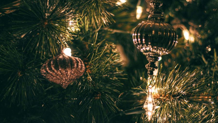 Christmas Baubles With String Lights HD Wallpaper