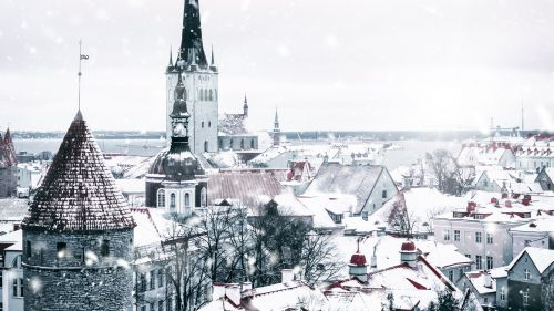 City buildings covered of snow HD Wallpaper