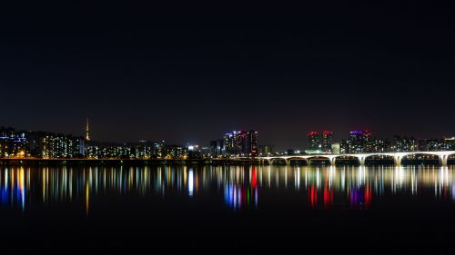 City lights over the hoizon HD Wallpaper
