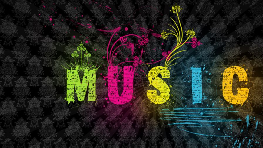 Colourful Music Background Wallpaper for Desktop and Mobiles
