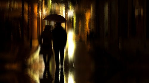 Coupl walking on a rainy night HD Wallpaper