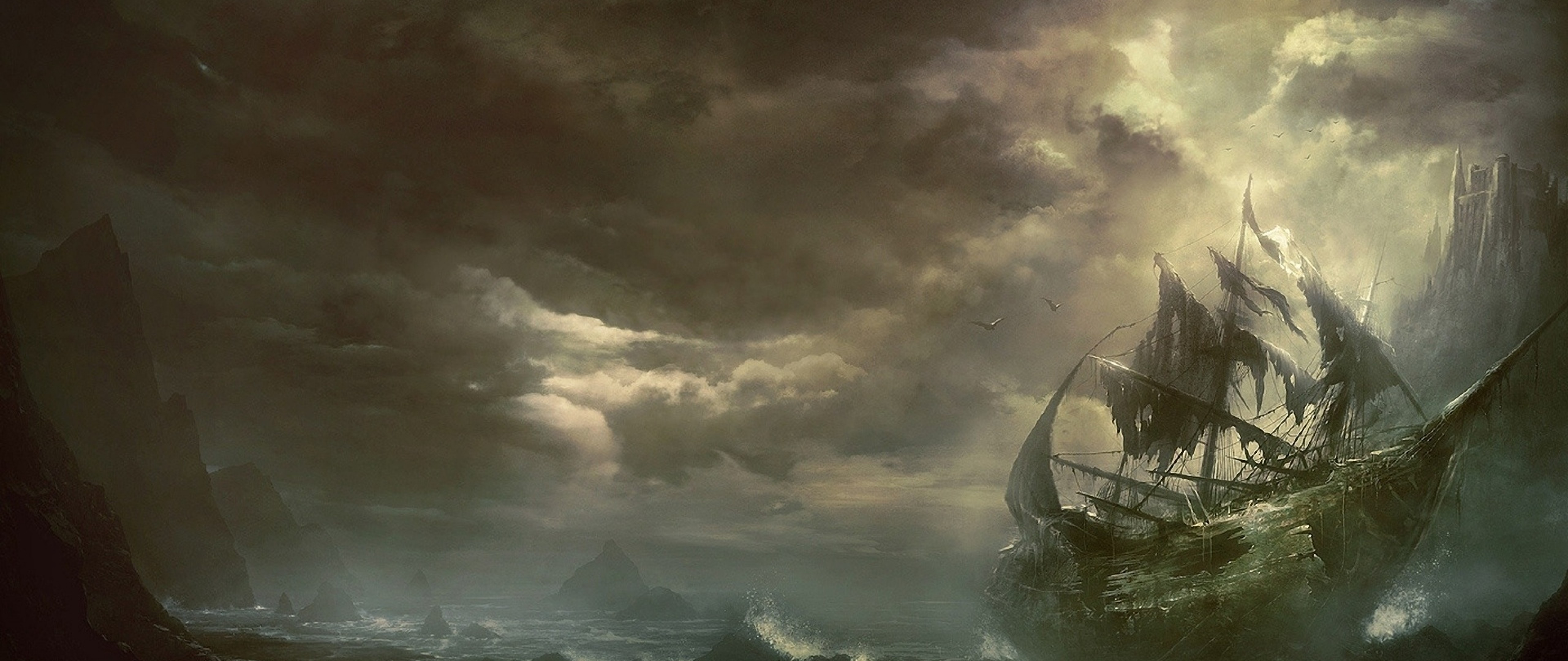 Destroyed ship over the sea HD Wallpaper