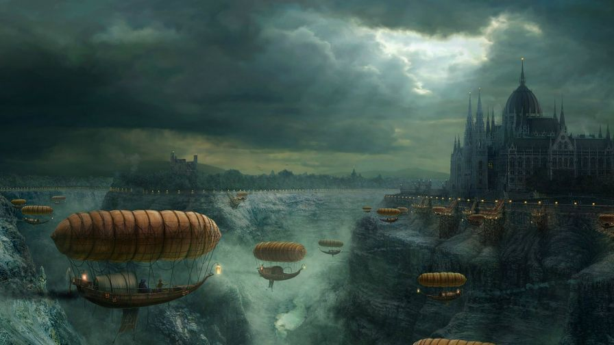 Download Fantasy Flying Boats to Castle Hd Wallpaper for Desktop and Mobiles