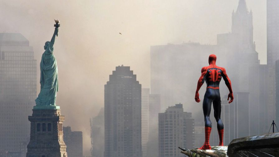 Download Spiderman & Statue of Liberty HD Wallpaper