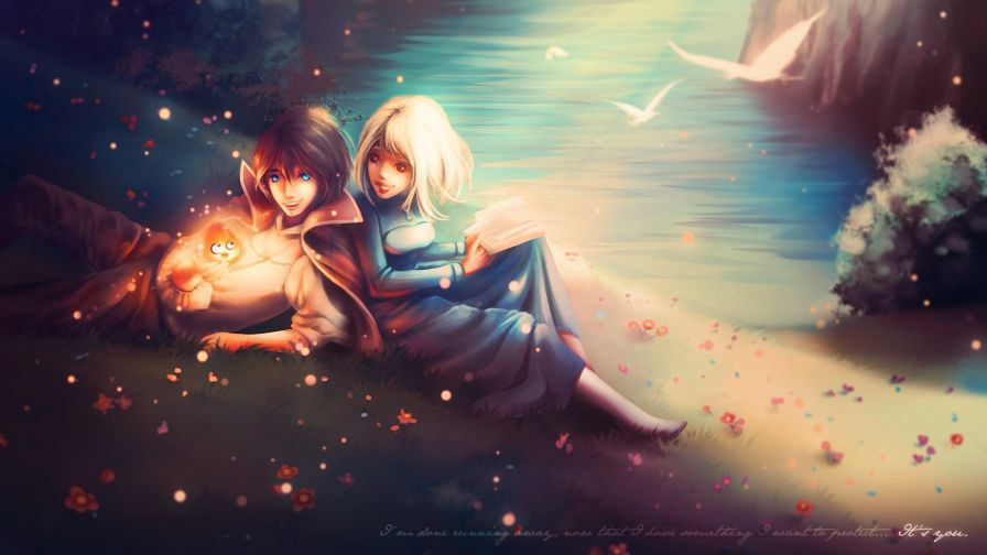 Fantasy couple relaxing HD Wallpaper