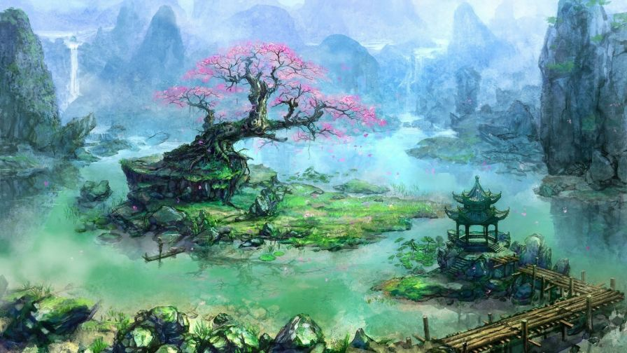 Fantasy landscape HD Wallpaper