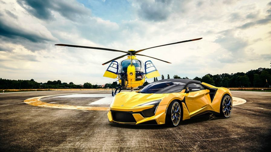 Fenyr Supersport and Helicopter HD Wallpaper