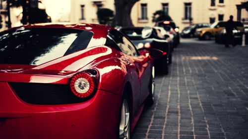 Ferrari and Bugatti parked HD Wallpaper