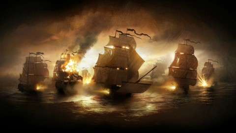 Firing Ships Wallpaper for Desktop and Mobiles
