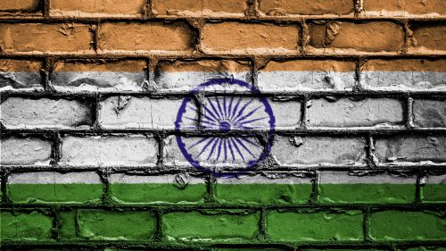 Flag of India on a brick wall HD Wallpaper