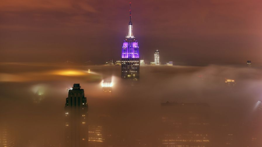 Fog rolling into New York City HD Wallpaper