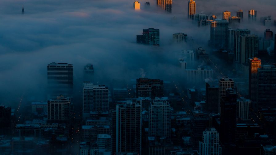 Foggy night at the city HD Wallpaper
