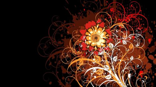 Free Download Orange Flower Vector Wallpaper for Desktop and Mobiles