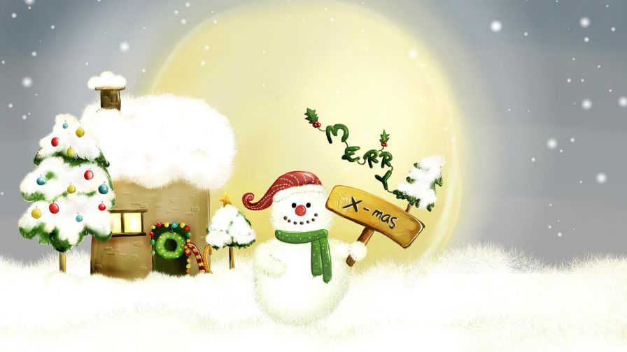 Free Download Snowman Christmas Wallpaper for Desktop and Mobiles