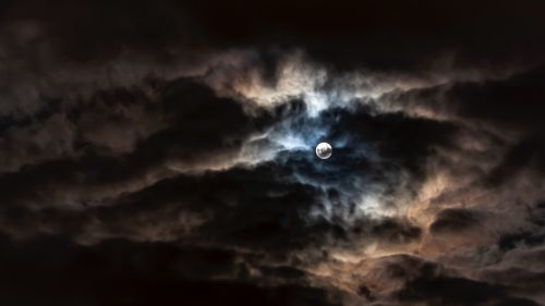 Full moon on a cloudy night HD Wallpaper